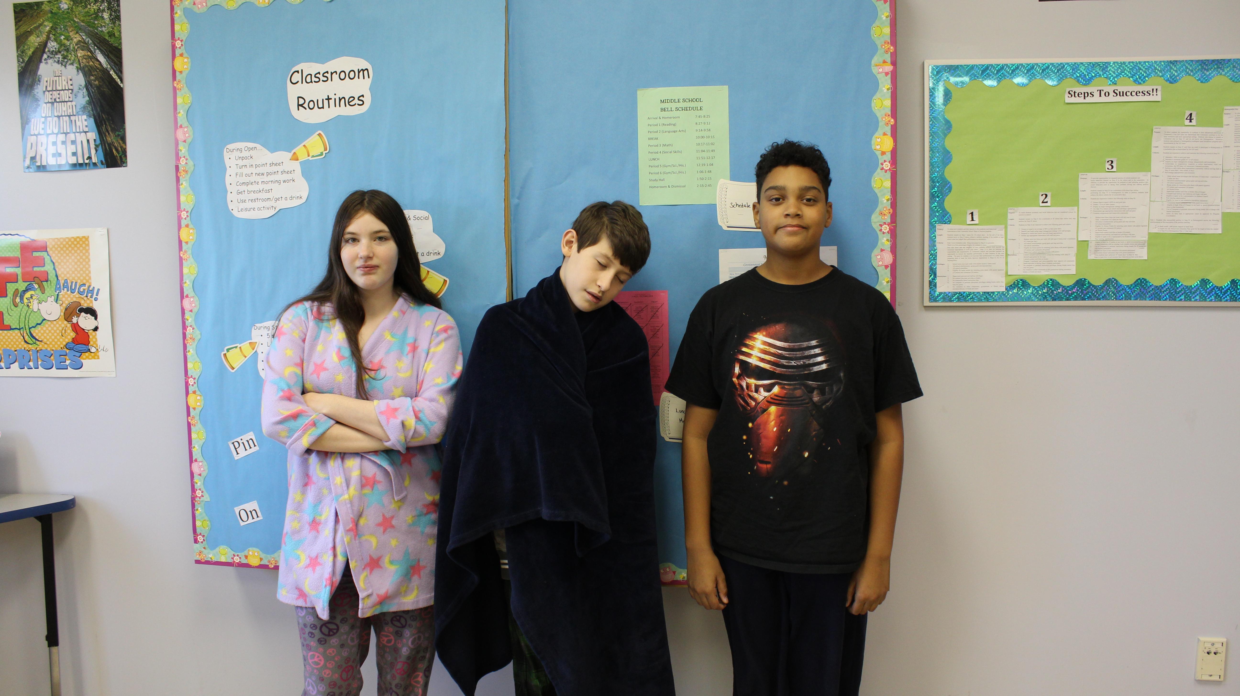 Students wearing PJs