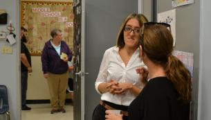 Parents, students, and teachers at Open House