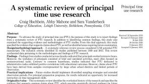 Screenshot of principal time use article